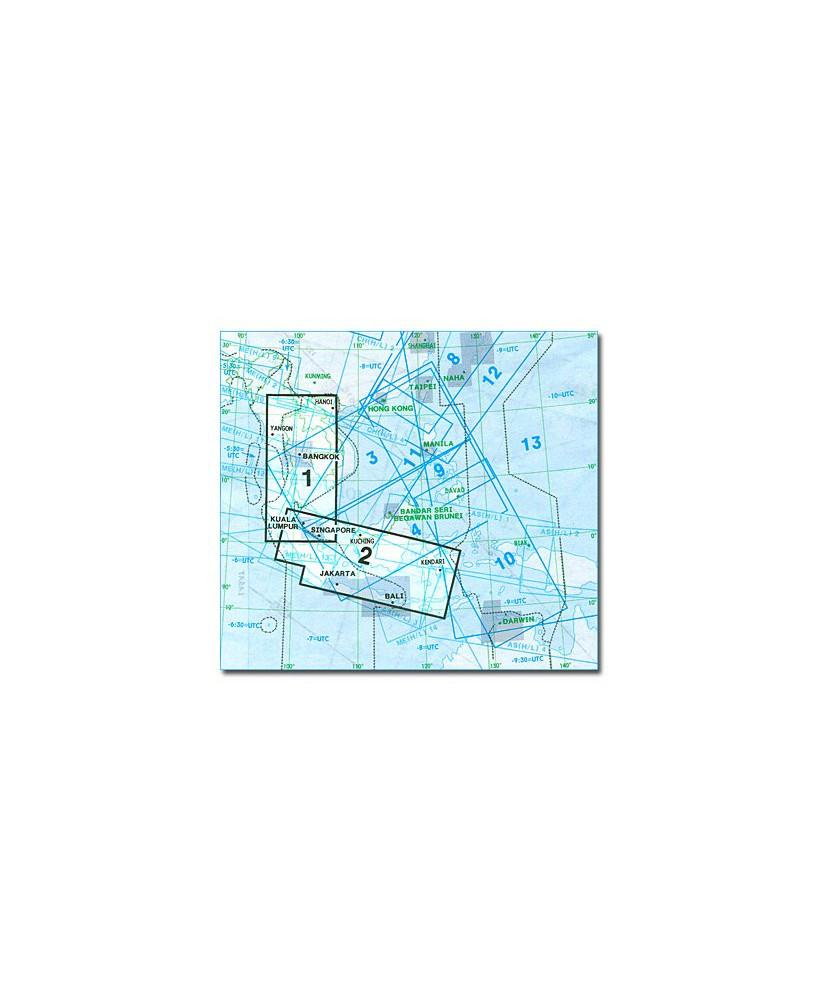 Carte Jeppesen Extrême-Orient En Route haute et basse altitude FE(H/L) 1/2