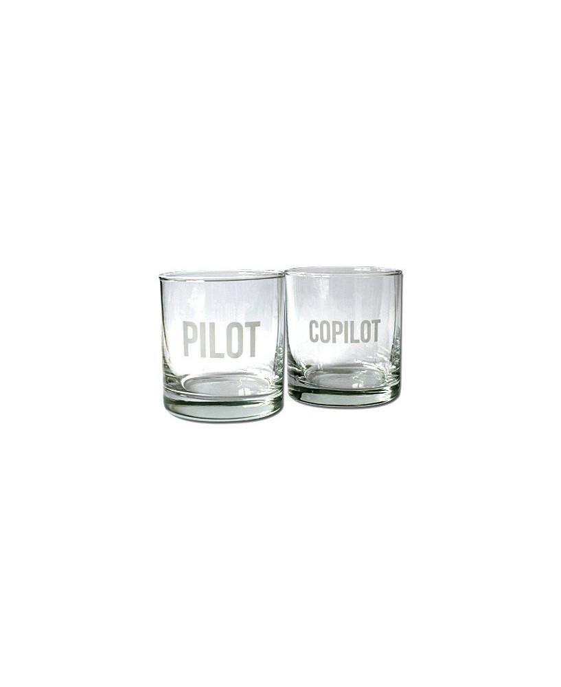 """Lot de 2 verres """"Pilot"""" et """"CoPilot"""""""