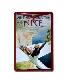 Plaque décorative en relief Nice Meeting d'aviation, Avril 1910 (20 x 30 cm)