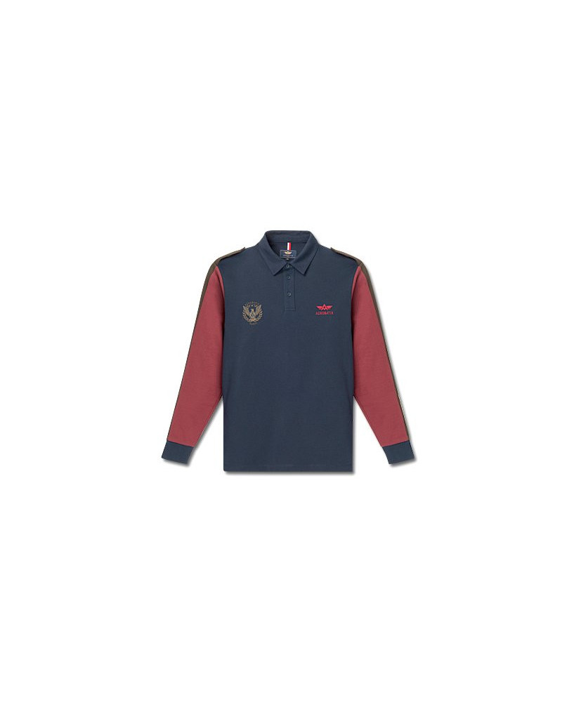 Polo marine manches longues JET - Taille M