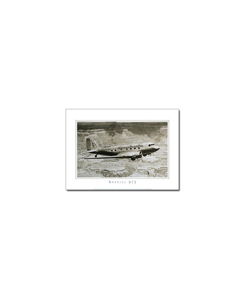 Poster noir et blanc DC3 TWA