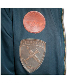 Bomber marine avec écussons en cuir GUYNEMER - Taille L