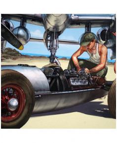 Affiche Pin-Up et voiture - Signée - Romain HUGAULT - 50 x 40 cm