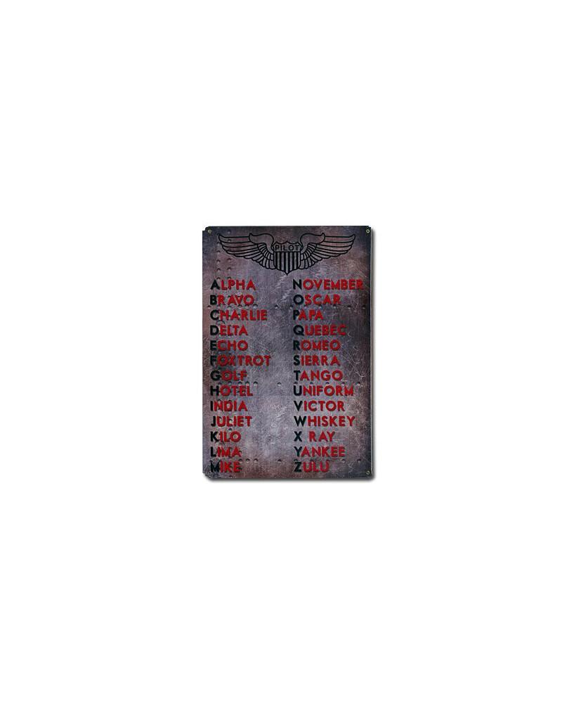 Plaque métal Alphabet Aéronautique