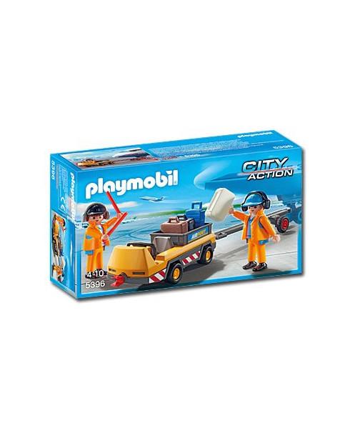 Agents avec tracteur à bagages Playmobil®