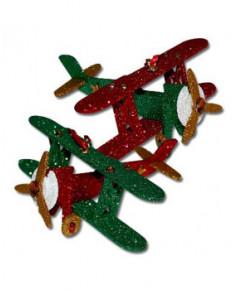 Décoration de Noël en bois - Biplan pailleté