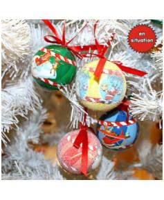 Décoration de Noël en plastique - Lot de 4 boules de Noël