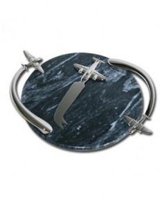 Plat en marbre avec couteau - forme avion