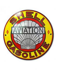 Plaque émaillée Shell Aviation Gasoline