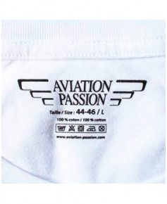 Tee-shirt Attention à la vache ! - Blanc / Aviation Passion - Taille L