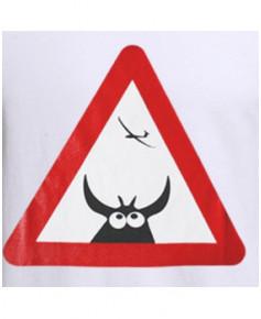 Tee-shirt Attention à la vache ! - Blanc / Aviation Passion - Taille XXXL