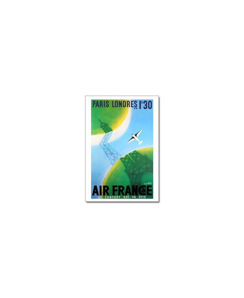 Affiche Air France, Paris-Londres : 1h30