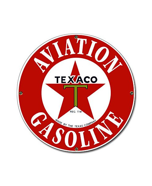 Plaque émaillée Texaco Aviation Gasoline
