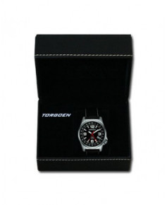 Montre Torgoen T01 101 - boîtier acier, cadran noir et bracelet noir en cuir