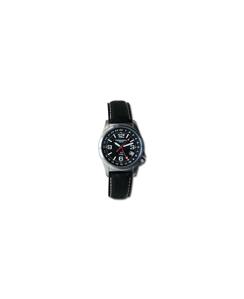 Montre Torgoen T05L 501 - boîtier acier, cadran noir et bracelet noir en cuir