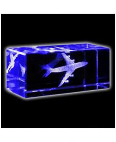 Bloc de verre Boeing 747 30x30x70 mm