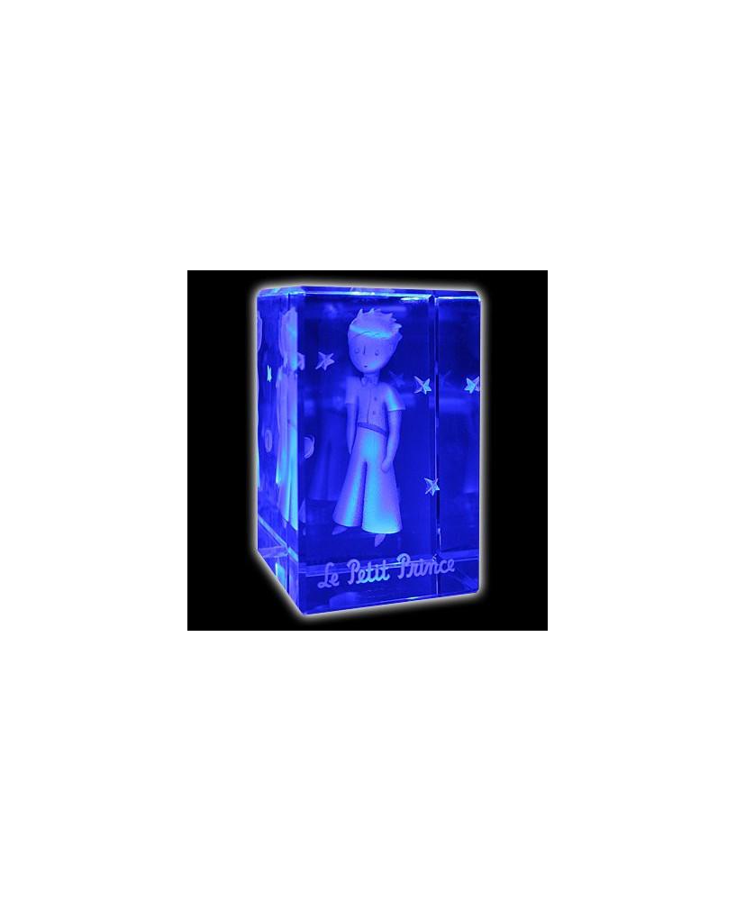 Bloc de verre Petit Prince en tenue de gala 50x50x80 mm