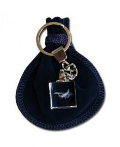 Porte-clés bloc de verre biplan