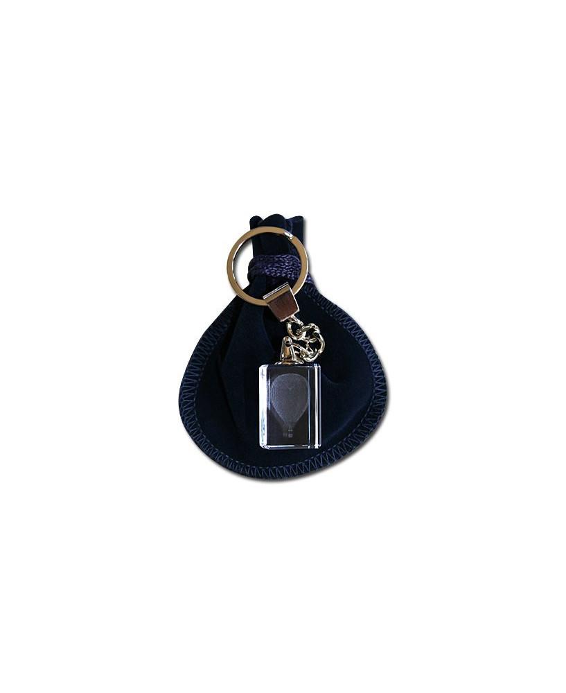 Porte-clés bloc de verre montgolfière