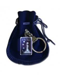 Porte-clés bloc de verre Petit Prince sur sa planète