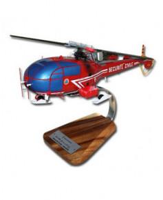 Maquette bois Alouette III Sécurité Civile