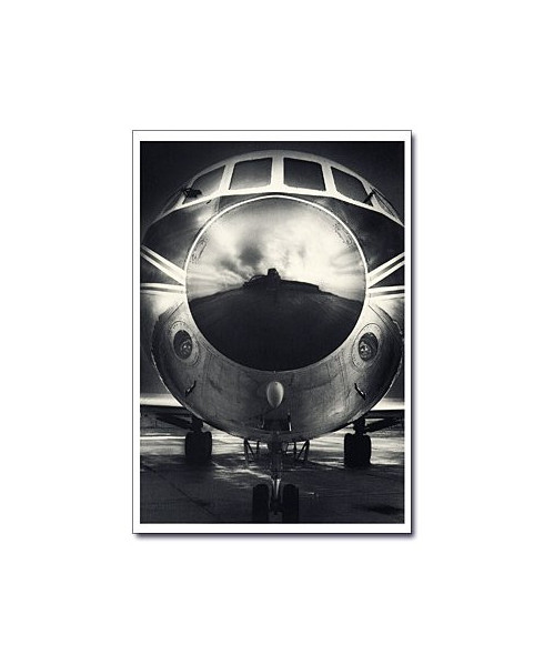 Carte postale noir et blanc - 04 - Caravelle, reflets usine Sud Aviation, Toulouse
