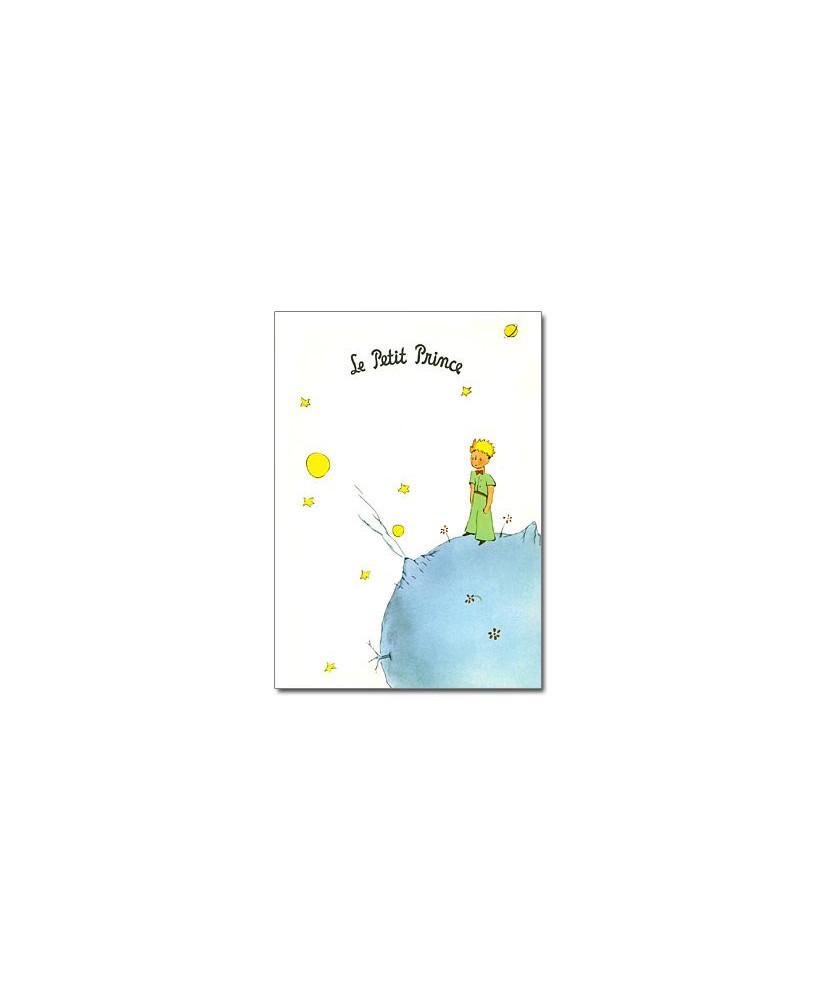 Carte postale Petit Prince sur sa planète (fond blanc)
