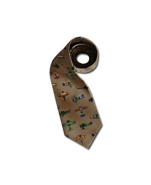 Cravate avions anciens beige