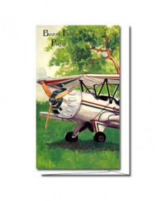 Carte Bonne Fête Papa Biplan blanc