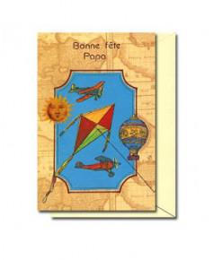 Carte Bonne Fête Papa Cerf-Volant