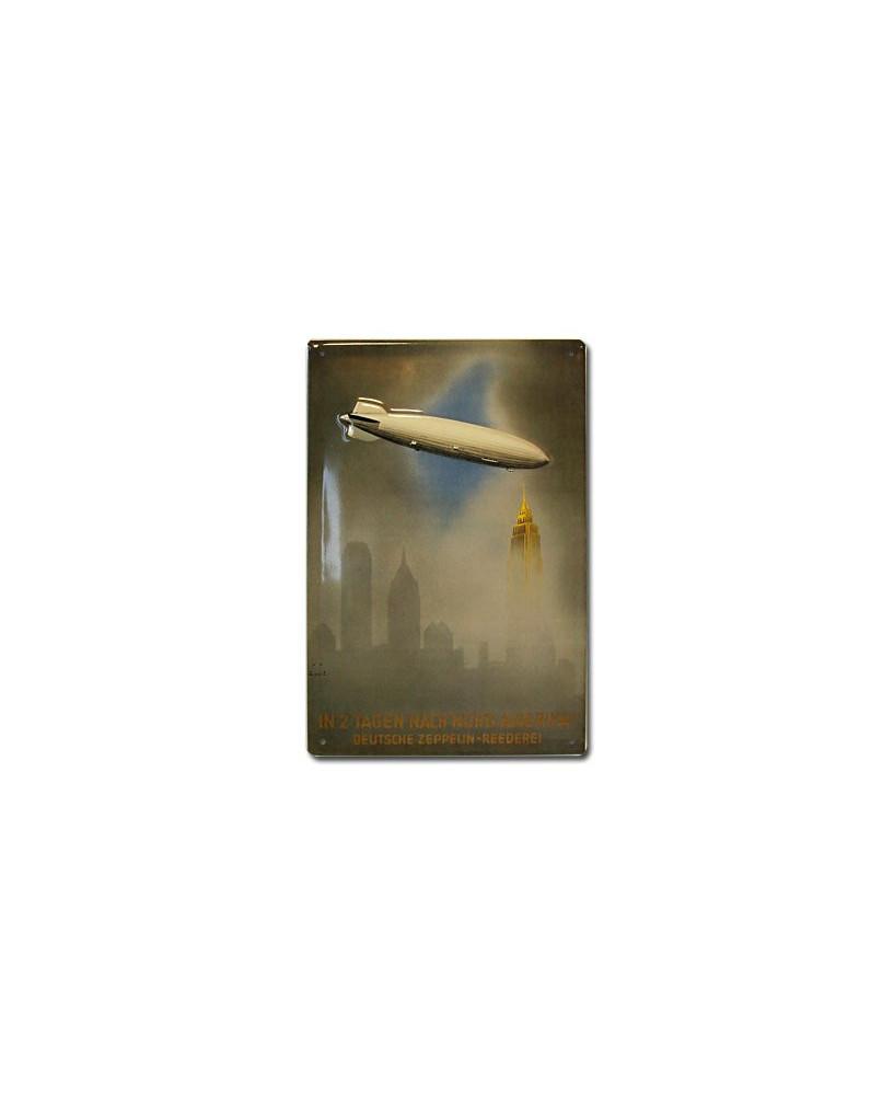 Plaque décorative en relief Zeppelin New-York (20 x 30 cm)