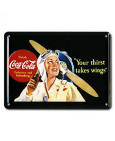 Mini plaque décorative Coca-Cola Flyer avec fond noir