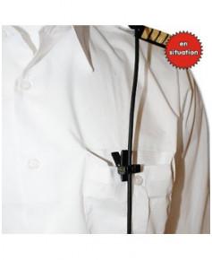 Pince vêtement à clip pour câble de casque (Pilot Comm)