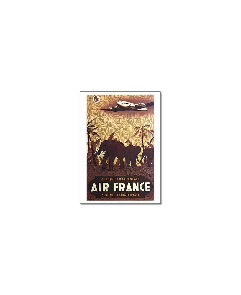 Affiche Air France, Afrique occidentale / Afrique équatoriale (petit modèle)