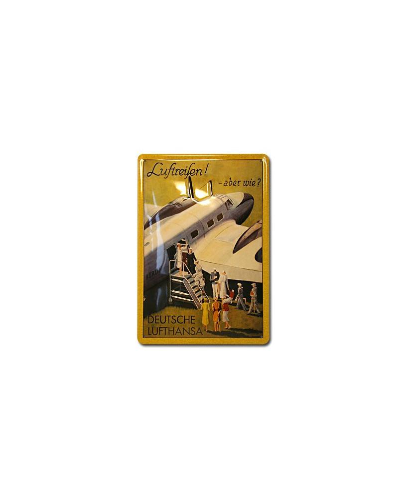 Plaque décorative en relief Lufthansa : Luftreifen ! Aber wie ? (20 x 30 cm)