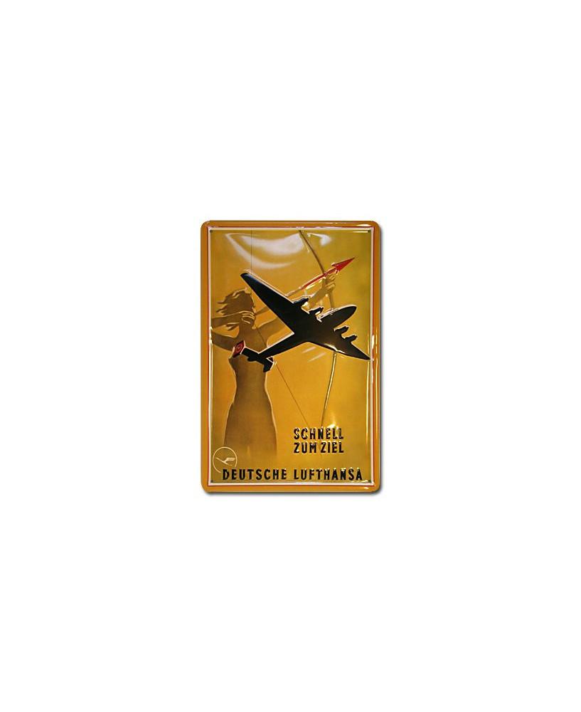 Plaque décorative en relief Lufthansa : Schnell zum ziel (20 x 30 cm)