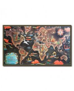 Affiche Air France, Planisphère réseau aérien mondial (mer noire)