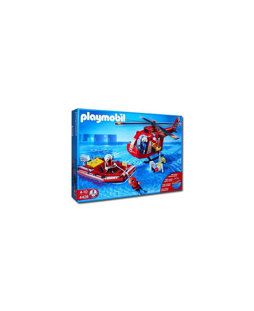 Les sauveteurs, l'hélicoptère et le bateau pneumatique Playmobil®