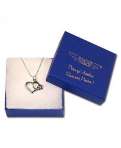 Pendentif avion/cœur (petit modèle) en argent avec chaîne