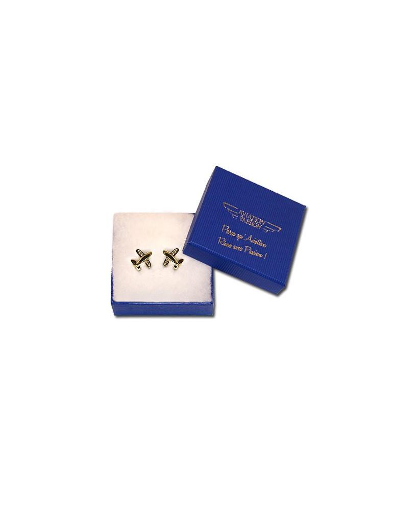 Boucles d'oreilles fantaisie avion argentées - zyrconium