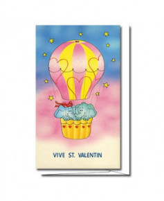 Carte Saint-Valentin Montgolfière éléphant