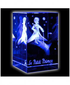 Bloc de verre Petit Prince sur sa planète 50x50x80 mm