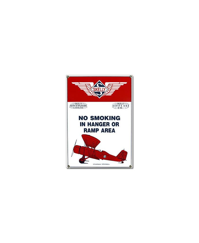 Plaque émaillée No Smoking in Hanger or Ramp Area