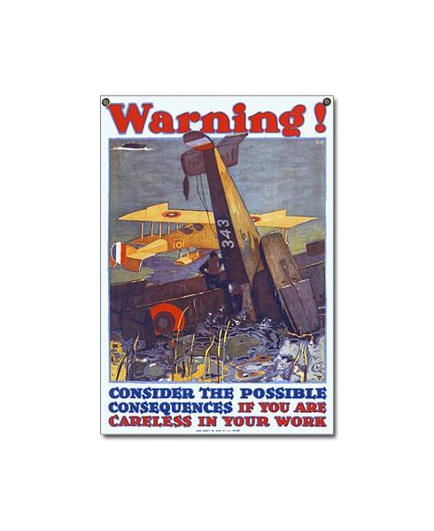 Plaque émaillée Warning