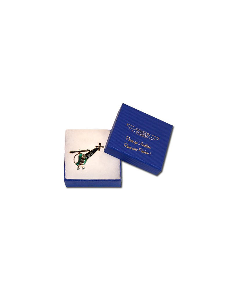 Broche hélicoptère fantaisie plaqué or bleu/vert