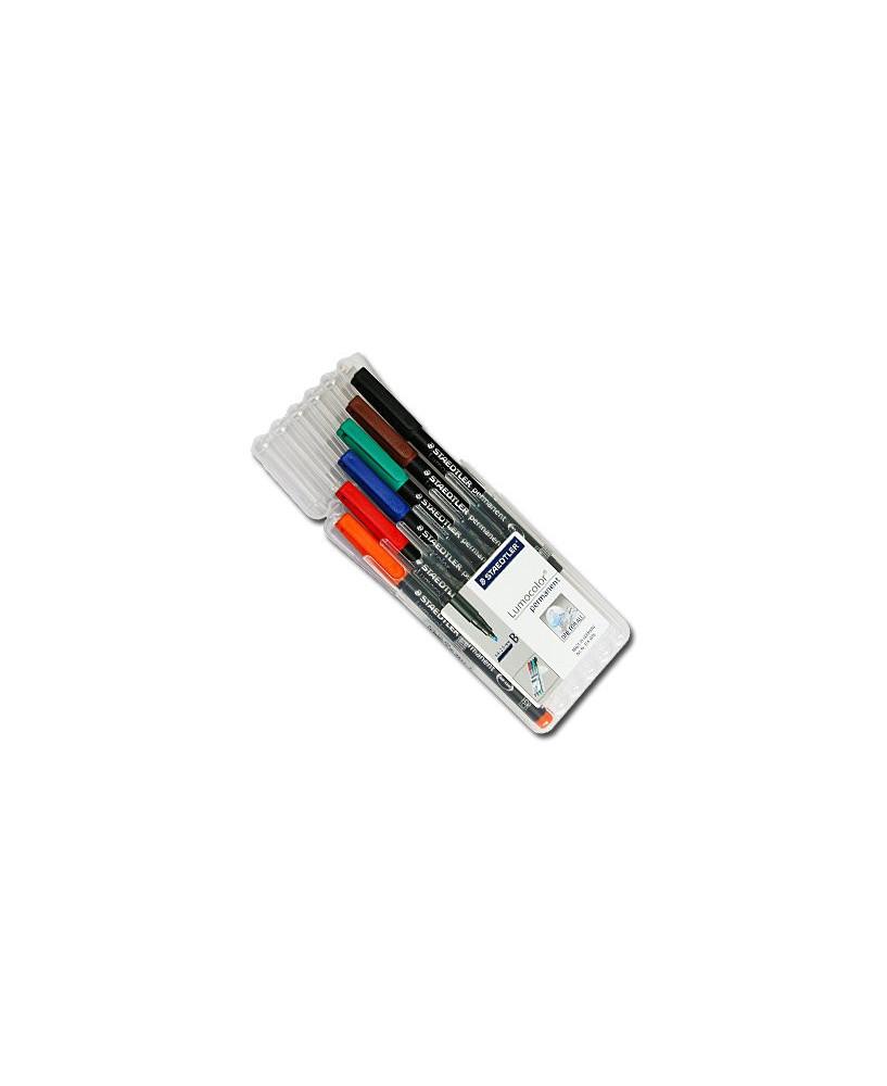 Etui 6 couleurs - Feutres permanents pointe biseautée