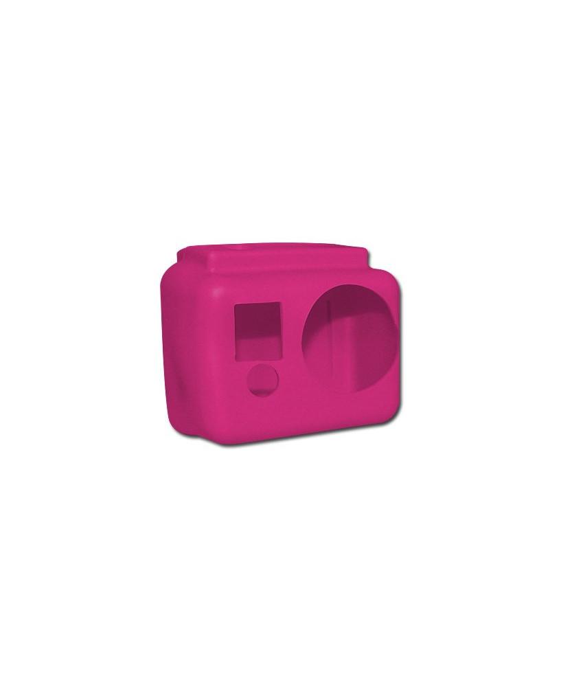 Coque de protection silicone rose pour caméra GoPro