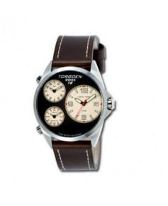 Montre Torgoen T08 103 - boîtier acier, cadran noir et bracelet marron en cuir
