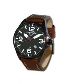 Montre Torgoen T10 103 - boîtier cuivre, cadran marron et bracelet marron en cuir