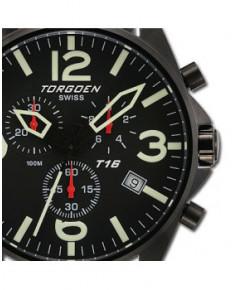 Montre Torgoen T16 101 - boîtier noir, cadran noir et bracelet noir en cuir